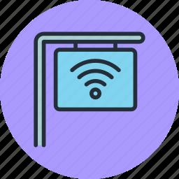 cafe, internet, sign, street, wifi icon