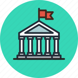 bank, building, business, city, finance, government, hall icon