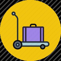 baggage, cargo, carriage, luggage, pushcart, suitcase, transport icon