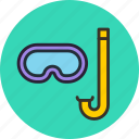 aquatic, dive, diving, marine, mask, snorkel, snorkeling icon