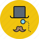 fashion, hat, hipster, monocle, moustache, top, tophat icon