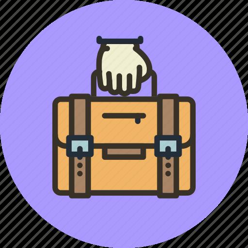 bag, briefcase, business, carry, hand, portfolio icon