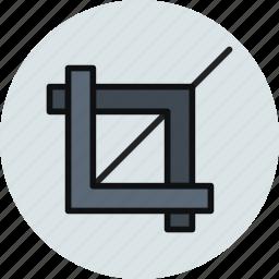 clip, crop, cut off, tool icon