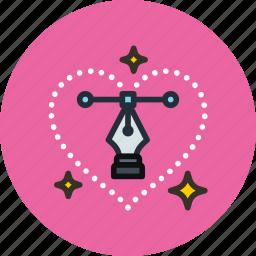 design, heart, illustration, love, pen, tool icon