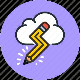 cloud, creative, design, idea, imaginary, pencil icon