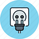 cord, plug, socket, power, electricity, electric icon