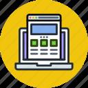 coding, development, internet, laptop, responsive, web, website icon