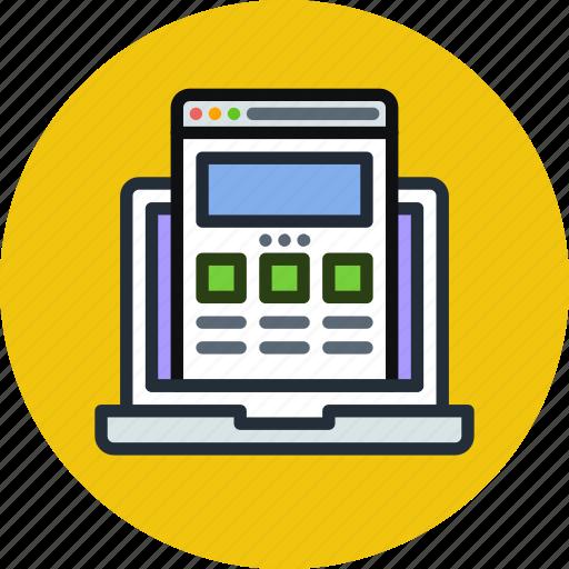 browser, coding, development, internet, laptop, responsive, web, website icon