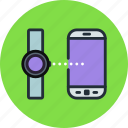 android, connect, data, mobile, phone, smart, transfer, watch icon