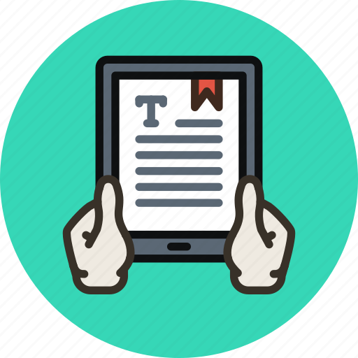 book, hands, read, reader, reading, tablet, text icon