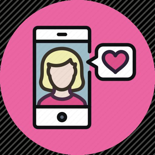 app, female, heart, like, love, match, phone, woman icon