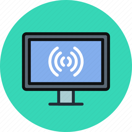 broadcast, connection, device, internet, television, tv, wifi icon