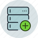 add, backup, base, data, database, rack, server icon