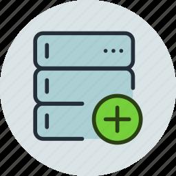 add, backup, base, data, database, rack, server icon