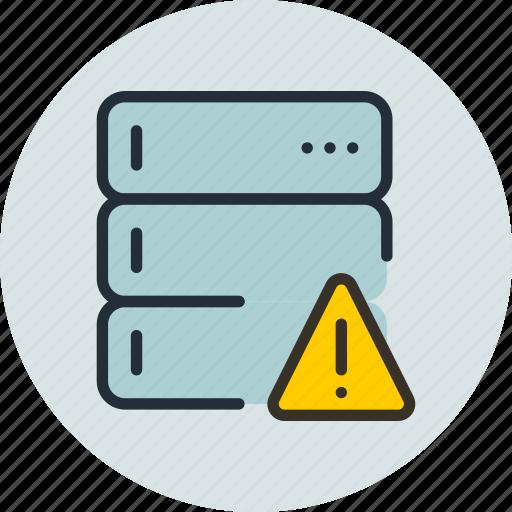 alert, base, data, database, rack, server, warning icon