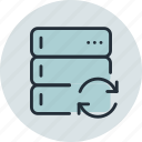 base, data, database, rack, server, sync, synchornization icon