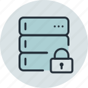base, data, database, lock, private, rack, server icon
