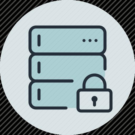 base, data, database, lock, private, rack, server icon
