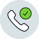 approve, call, check, contact, mobile, phone icon