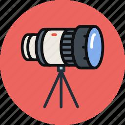camera, lens, photo, stand, telescope, tripod icon