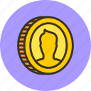 cash, coin, currency, finance, gold, money, portrait, tails icon