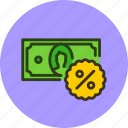 cash, credit, deposit, discount, finance, money, percent icon