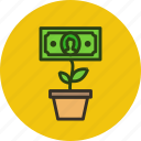 business, cash, finance, grow, growth, money, plant, rise icon