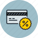 card, credit, debet, discount, finance, money, payment, percent icon