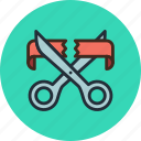 business, cut, finance, open, opening, ribbon, scissors, start icon