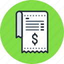 bill, finance, invoice, payment, receipt icon