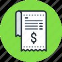 bill, finance, invoice, payment, receipt