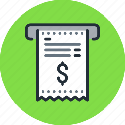 bill, finance, invoice, money, pay, payment, receipt, receive icon