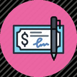 bank, check, cheque, finance, money, pen icon