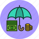 cash, deposit, finance, money, protected, safe, secure, umbrella icon