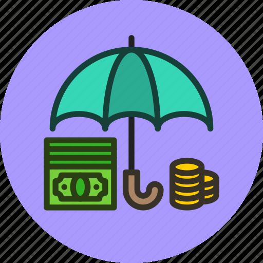 cash, deposit, finance, money, protected, safe, secure, umbrella icon