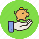 bank, cash, deposit, finance, hand, money, piggy icon