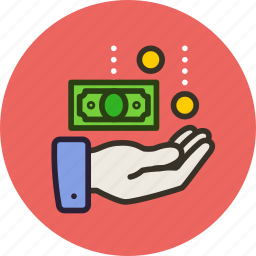 cash, coins, finance, hand, money, pay, receive, withdraw icon