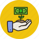 business, cash, finance, grow, money, plant, rise, startup icon
