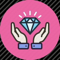 diamond, finance, hands, keep, luxury, safe, wealth icon