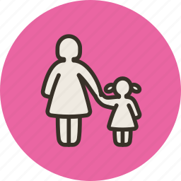 child, daughter, family, girl, mom, mother, parental control icon