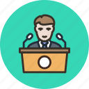 conference, election, meeting, pr, presentation, press, speaker, tribune icon