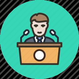 conference, election, meeting, pr, presentation, press, speaker, tribune icon