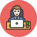 cactus, employee, interior, laptop, office, outsorce, table, worker icon