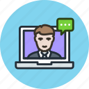 chat, consulting, customer, help, laptop, service, support, telemarketing icon