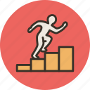 achievement, business, career, climb up, employee, growth, oppurtunity, steps icon