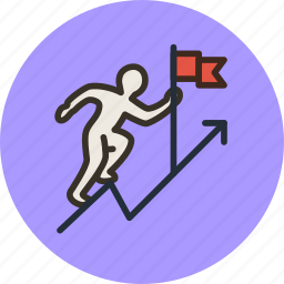 business, career, climb up, employee, flag, goal, growth, rise icon