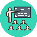 classroom, conference, education, lecture, lesson, meeting, presentation, teacher icon