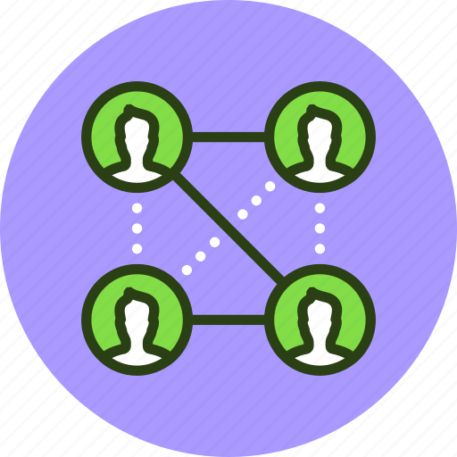 affiliate, connections, friends, marketing, network, social, users, work icon
