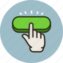 click, gesture, hand, press, push, start icon