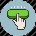 click, gesture, hand, press, push, start icon